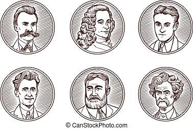 gravura, literatura, famosos, retratos, set., voltaire., ...