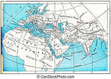 gravura, mapa, antiga, vindima, ásia, áfrica, mundo, europa