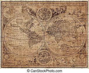gravura, mapa, estilo, mundo, cobre