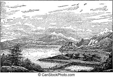 gravura, neolithic, epoque, vindima, estação, suíça, belle, durante, lake-dwelling, latringen