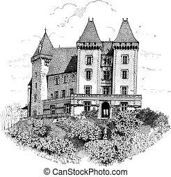 gravura, pau, vindima, de, frança, chateau, castelo, ou