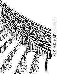 gravura, pedra, feito, escadaria, vindima, silt
