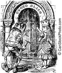 gravura, que, porta, lá, -, alice, rã, olhar vidro, livro,...