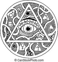 gravura, vendo, tudo, piramide, olho, tatuagem, símbolo, desenho