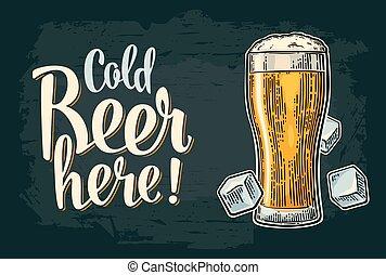 gravura, vindima, aqui, cerveja, vetorial, gelado, caligrafia, lettering.