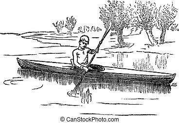gravura, vindima, canoa, ou, canadense