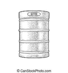 gravura, vindima, keg., metal, ilustração, cerveja, vetorial
