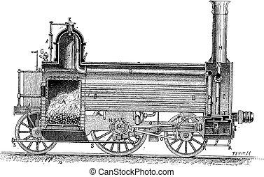 gravura, vindima, locomotiva, vapor
