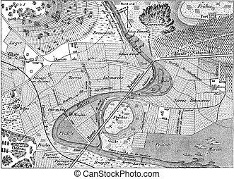 gravura, vindima, mapa topográfico