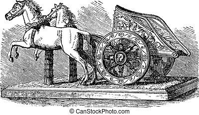 gravura, vindima, romana, chariot