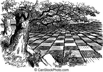 gravure, énorme, grand, là, -, quel, alice, regarder verre, jeu, livre, par, échecs, trouvé, original