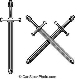 gravure, épées, traversé, étiquette, style., signe., ...