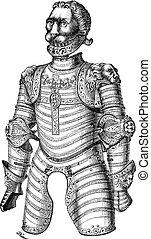 gravure, armure, vendange, aussi, lion, xii, connu, louis