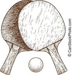 gravure, balle, tennis, ping, deux, illustration, raquettes, table, pong