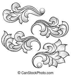 gravure, baroque, feuille, rouleau