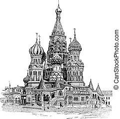 gravure, basil's, heilige, ouderwetse , moskou, kathedraal,...