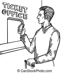 gravure, billet, vecteur, bureau, homme