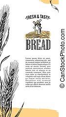 gravure, blé, illustration, moulin, champ, ears.