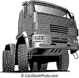 gravure, camion