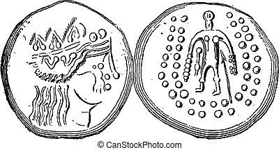 gravure, celtique, Ancien, tetradrachma, vendange, monnaie,...
