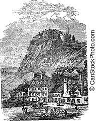 gravure, château edimbourg, vendange, ecosse