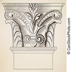 gravure, colonne