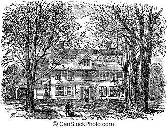 gravure, concorde, maison, hawthorne, massachusetts, vendange
