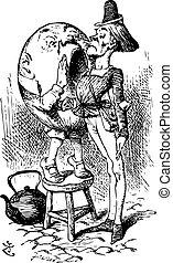 gravure, cris, quel, humpty, messenger's, dumpty, là, -, alice, regarder verre, livre, par, trouvé, oreille, original