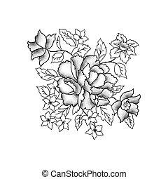 gravure, croquis, fleur, bouquet., fond, floral