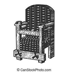gravure, croquis, illustration., moyen-âge, torture, égratignure, style, main, imitation., vecteur, planche, fer, appareil, dessiné, chaise, image.