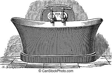 gravure, cuivre, baignoire, vendange