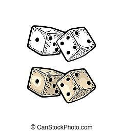 gravure, dice., ouderwetse , twee, illustratie, kleur, vector, witte