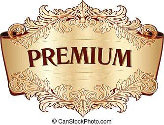 gravure, doré, vendange, cadre, étiquette, conception, acanthe, floral, baroque, rouleau, element.