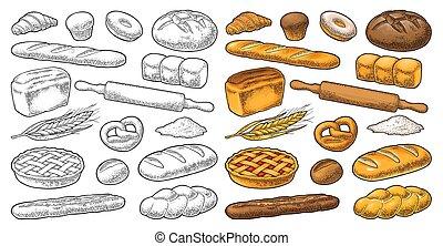 gravure, ensemble, bread., vendange, illustration, vecteur, noir