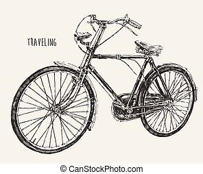 gravure, fiets, ouderwetse , detail, hoog, het reizen
