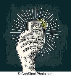 gravure, gin., vendange, main, verre, vecteur, tenue, mâle