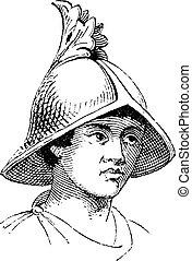 gravure, helm, carlovingian, galea, ouderwetse