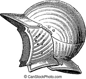 gravure, helm, hoofd, ouderwetse , pot, of