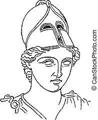 gravure, helm, ouderwetse , griekse , borstel, centurion, galea, of