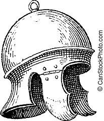 gravure, helm, ouderwetse , romein, galea, of, legionnaire's