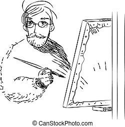 gravure, illustratie, van, een, schilder, op het werk