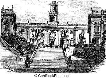 gravure, italie, capitole, vendange, rome, bâtiment