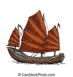 gravure, jonque, voile, affiche, conception, vendange, illustration, main, ship., vecteur, postmark., mer, dessiné, étiquette, flotter, élément, waves.