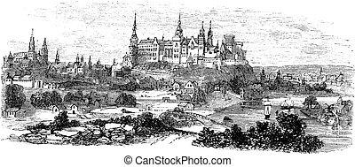 gravure, krakow, vendange, royal, pologne, wawel, pendant, château, 1890s, ou