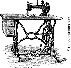 gravure, machine, foot-powered, naaiwerk, ouderwetse