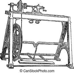 gravure, machine, ouderwetse , draaibank, woodturning, ...