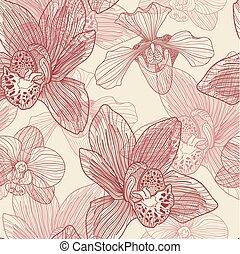 gravure, modèle, seamless, arrière-plan beige, orchidée