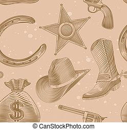 gravure, model, stijl, seamless, cowboy