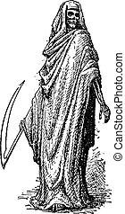 gravure, mort, vendange, ou, reaper, sinistre