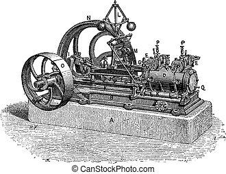 gravure, moteur, horizontal, vapeur, vendange
